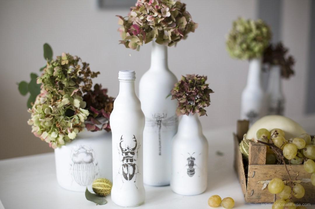 décoration de table thème halloween , set design fleurs fanées et insectes