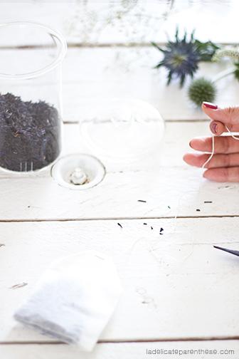 ficelle sachets de thés en fleurs fait mains création blog déco
