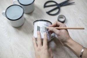 création handmade DIY mug en émail