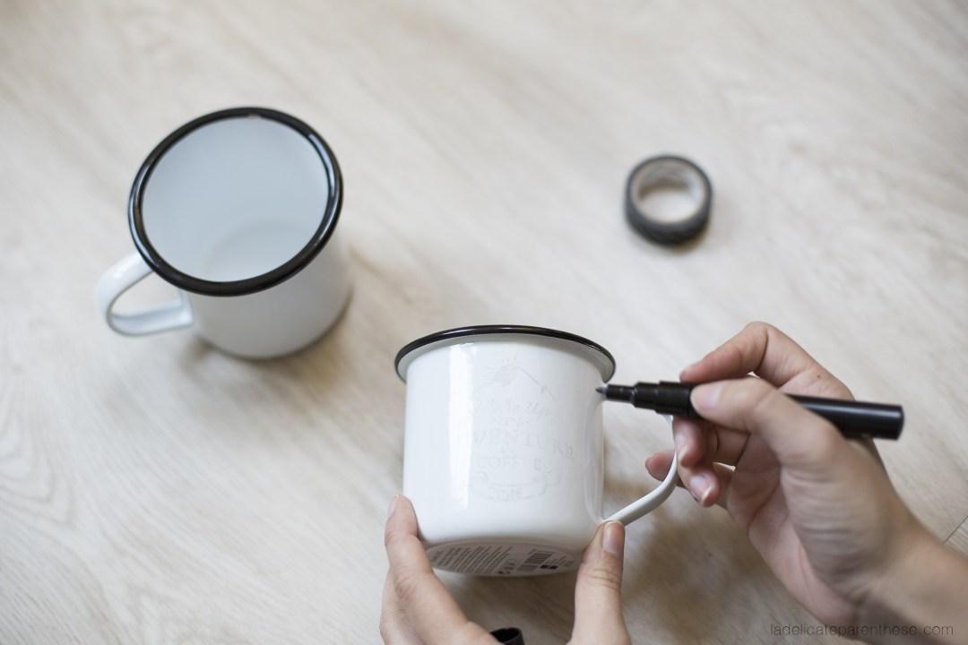 coffe et tea time mug en émail DIY création blog