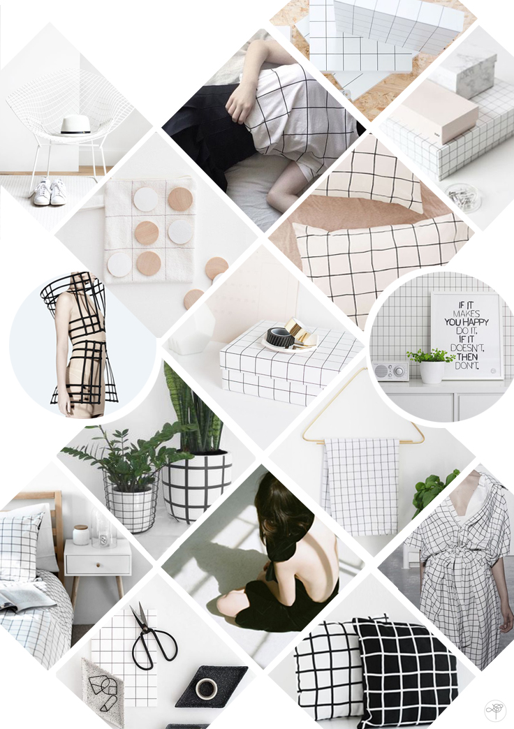 Grid Mood board tendance motif quadrillé