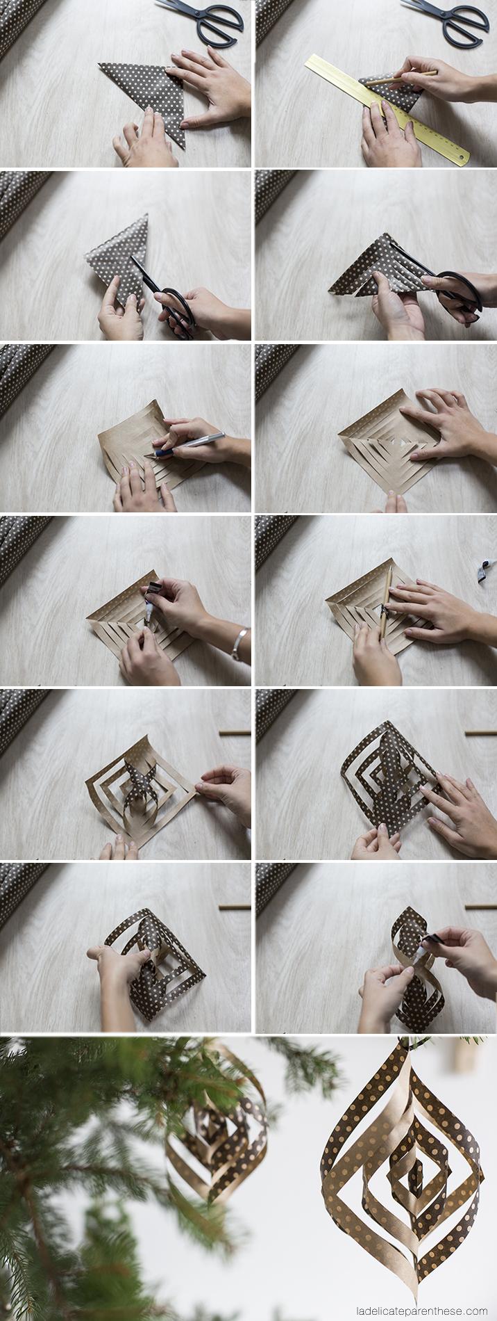 DIY étape de pliage origami pour décoration sapin noel IKEA