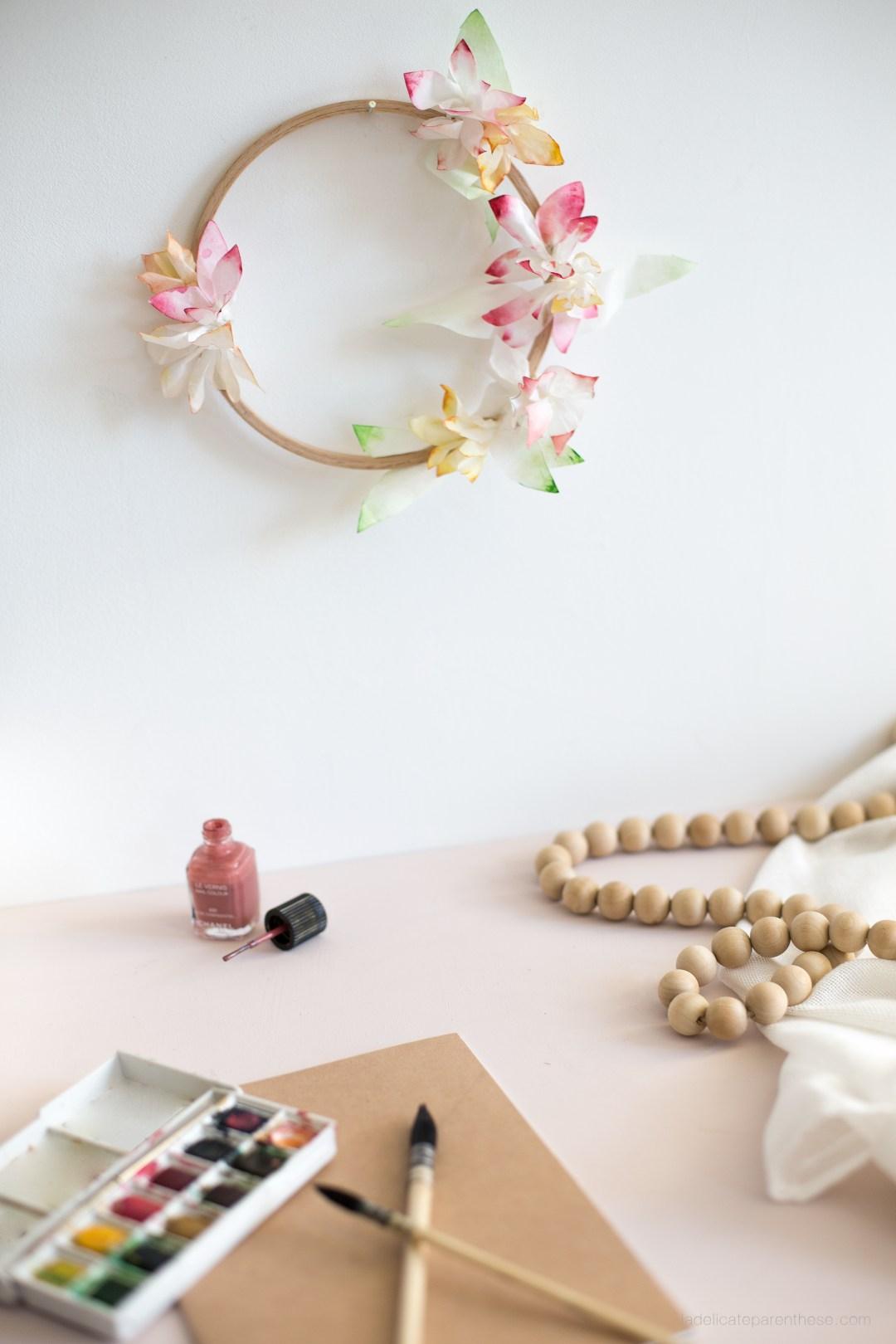 Création couronne de fleur en papier esprit vaiana disney tahiti
