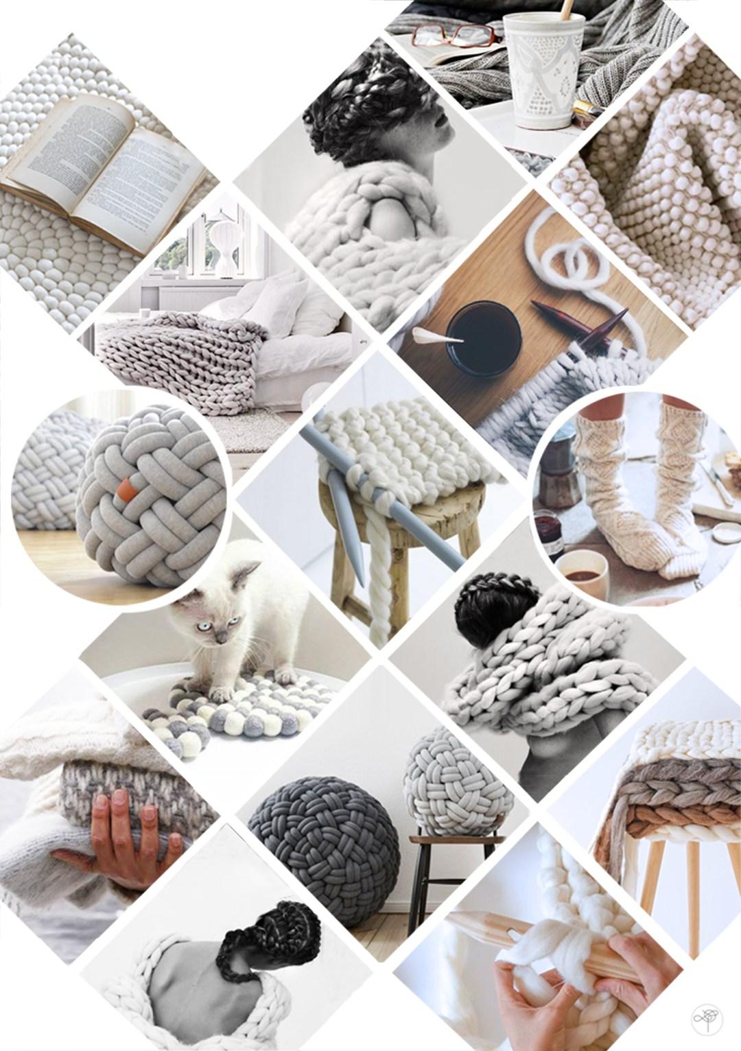 Création DIY inspiration déco blog mood board chaleur et tricot