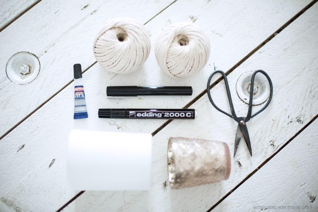outils pour réaliser des caches pots en corde