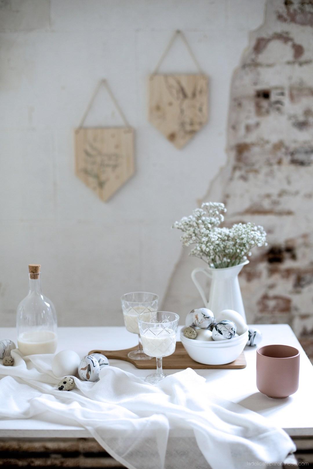 Création DIY une table de Paques blanche et naturelle