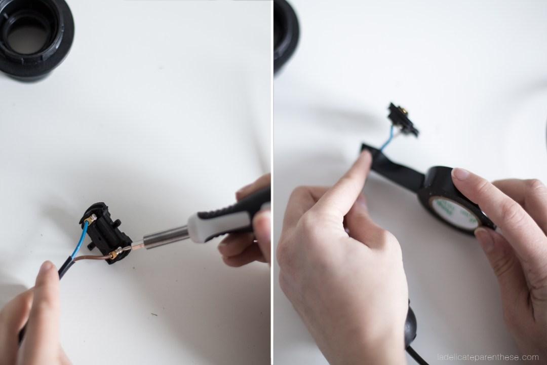 Création DIY handmade tabouret transformé en lampadaire