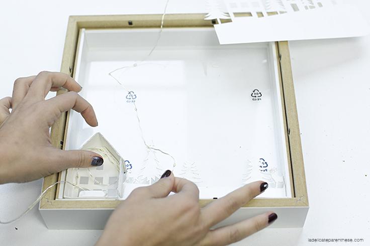 découpe maison de papier - village lumineux de noel