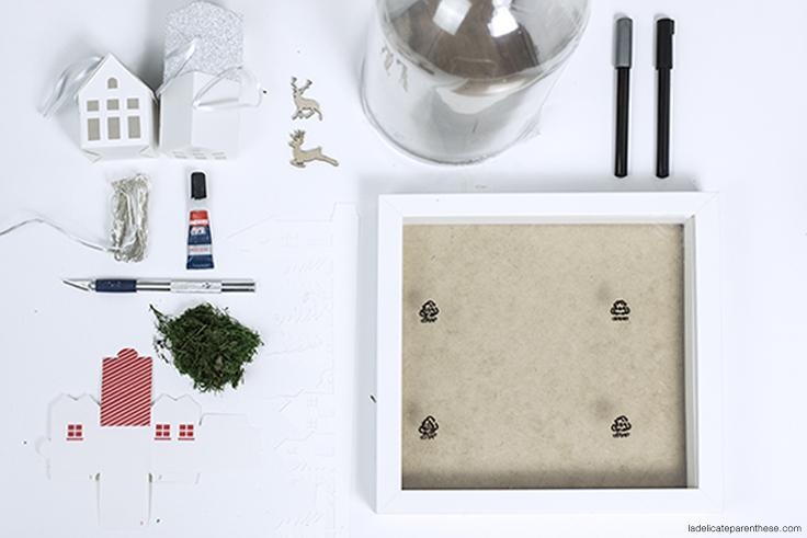 Outils création DIY cloche village en papier outils