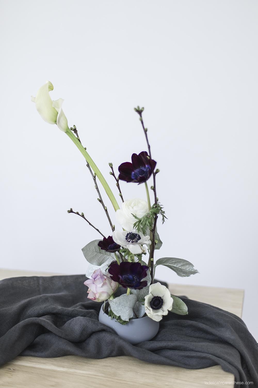 mise en scène Japonaise pour table de Paques Ikebana