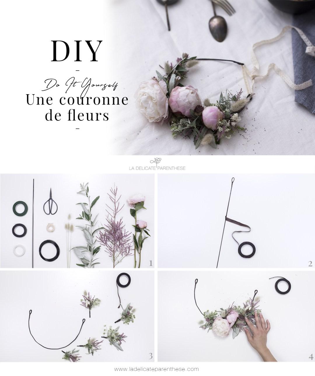 étapes de création couronne de fleurs champêtre