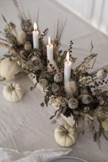 handmade creation fleurs séchées pour la table d'halloween
