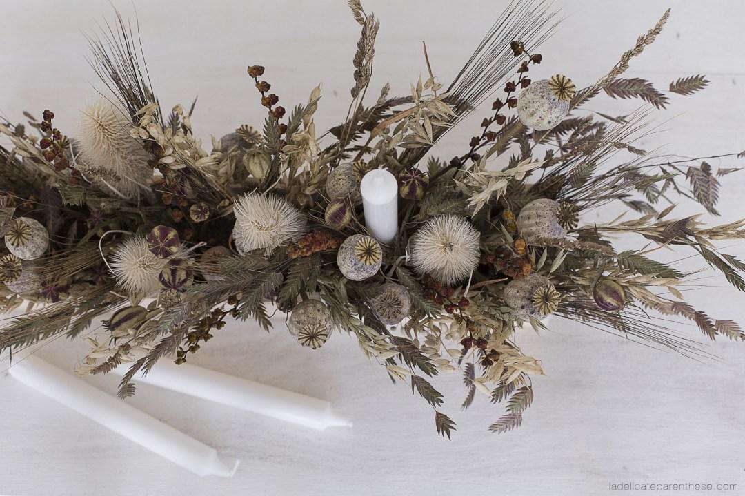 Création Do it yourself centre de table fleurs séchées pour Halloween