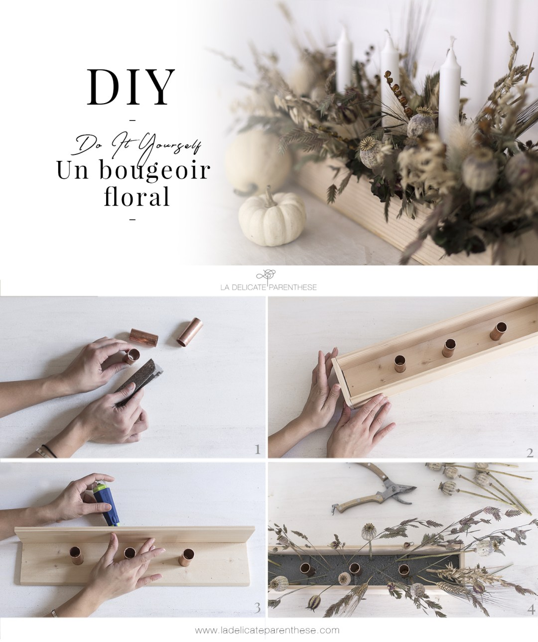 template pinterest diy bougeoir foral