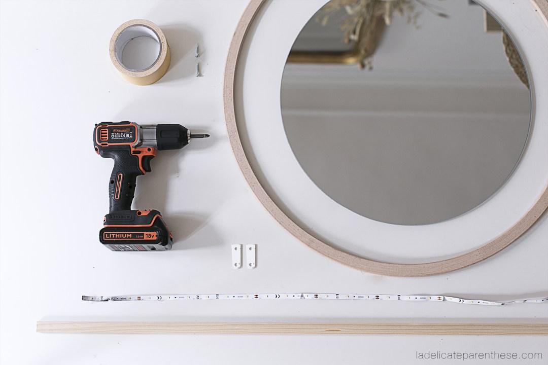 founritures de création Do it yourself miroir de salle de bain