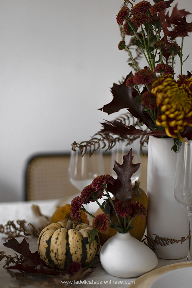 une table decoration automne creation minimal composition