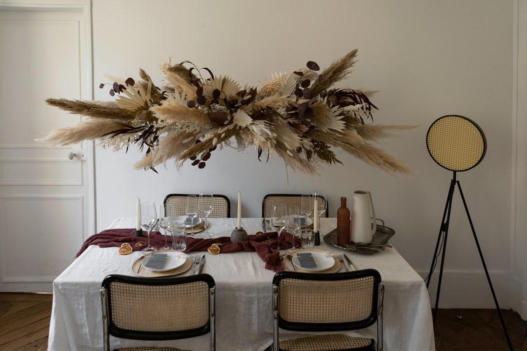 Home table de Noel pampa nuage de fleurs
