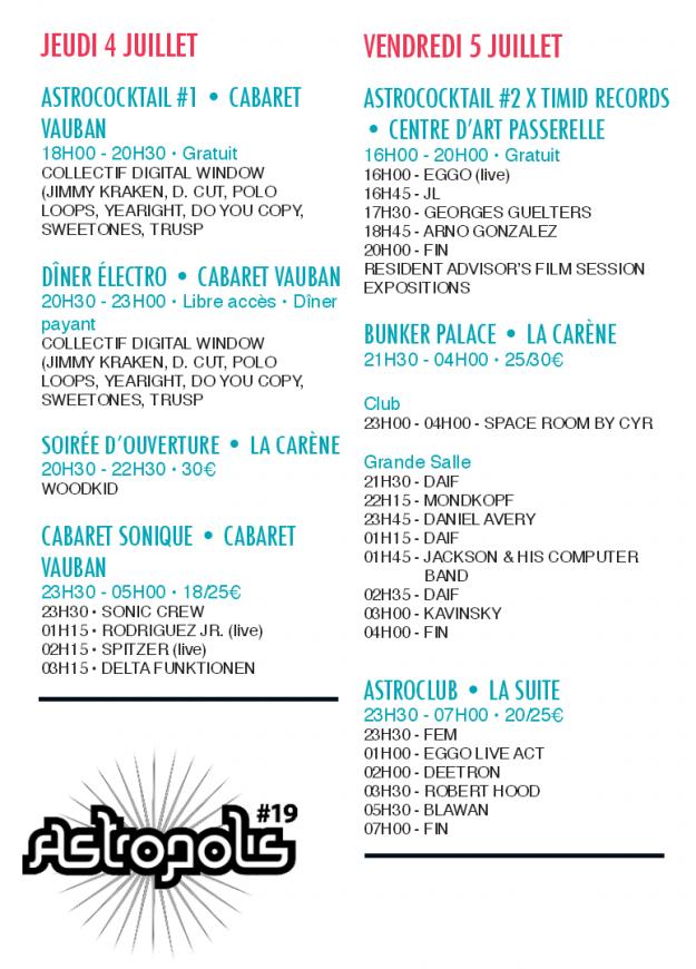 Horaires du jeudi 4 et vendredi 5 juillet à Astropolis 2013 - La Déviation