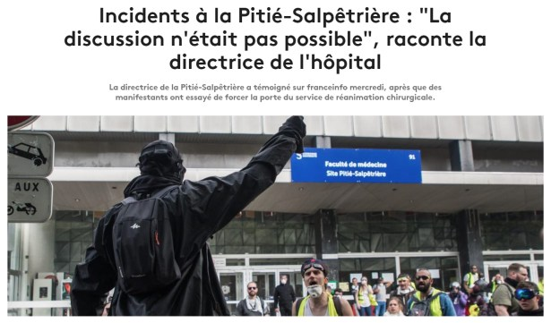 200423 - Capture écran article France Info Incidents à la Pitié-Salpêtrière 1re mai 2019 - La Déviation