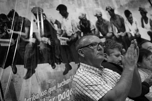 Richard Read, ayer, en el acto de lanzamiento de la corriente Orientación Sindical Unitaria 5 de Marzo. Foto: Nicolás Celaya