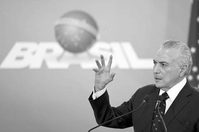 Michel Temer, presidente brasileño, en el Palacio del Planalto, Brasilia. Foto: Evaristo Sa, AFP