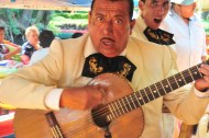 Great music is played on our neighbouring boat in Xochimilco, the Mexican Venice.