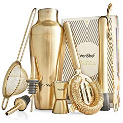 Brushed Gold Cocktail Shaker Set