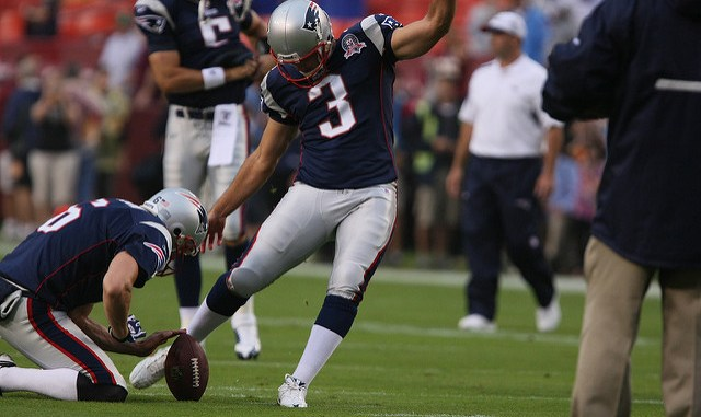 New England Patriots kicker Stephen Gostkowski kicking a field goal