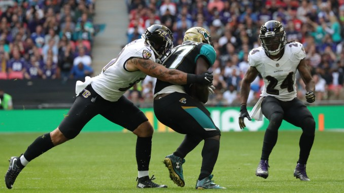 Baltimore Ravens Defense tackling Leonard Fournette