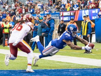 New York Giants Tight End Evan Ingram catching a touchdown pass
