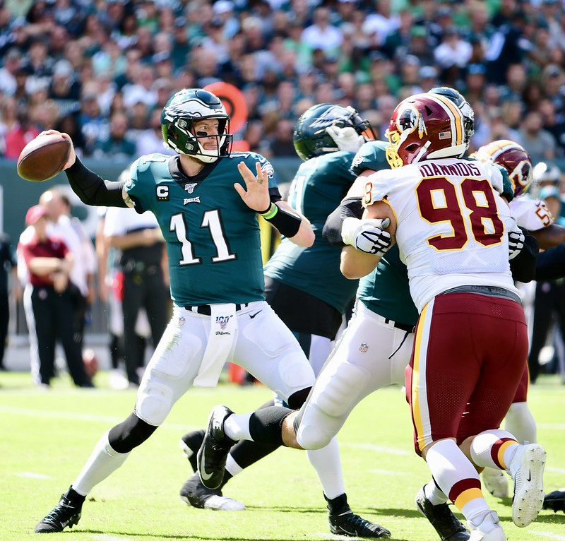 NFL Philadelphia Eagles quarterback Carson Wentz throwing a pass