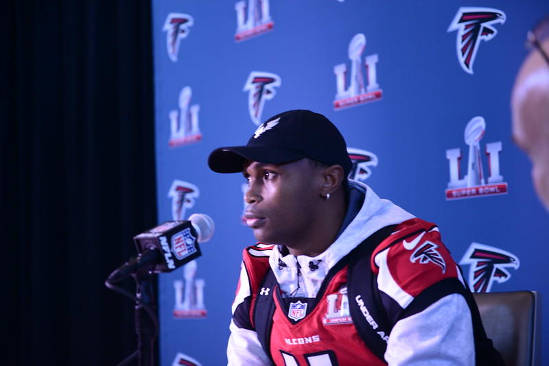 NFL Atlanta Falcons wide receiver Julio Jones getting interviewed at a pre Super Bowl press conference