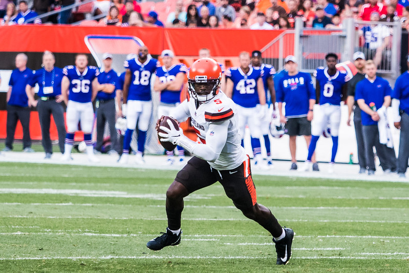 NFL Quarterback Tyrod Taylor getting ready to throw a pass