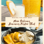 A Bananas Foster Shot sitting next to a bottle of Blue Chair Bay Banana Rum Cream and a New Orleans Banana Foster dessert in a large black skillet