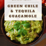 Guacamole made with roasted green chiles, smoky tequila, chopped cilantro, lime juice, ground cumin, garlic powder, salt, diced onions, tomatoes, and fresh jalapeno.