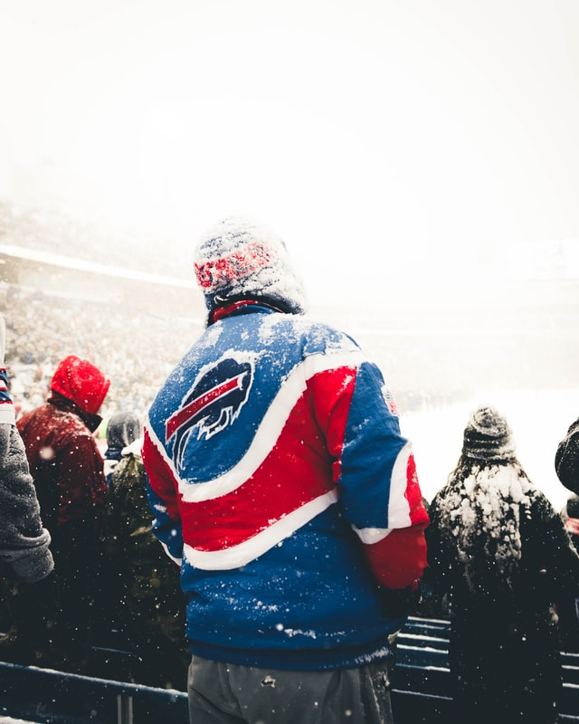 NFL Buffalo Bills fan at a snowy Buffalo Bills football game
