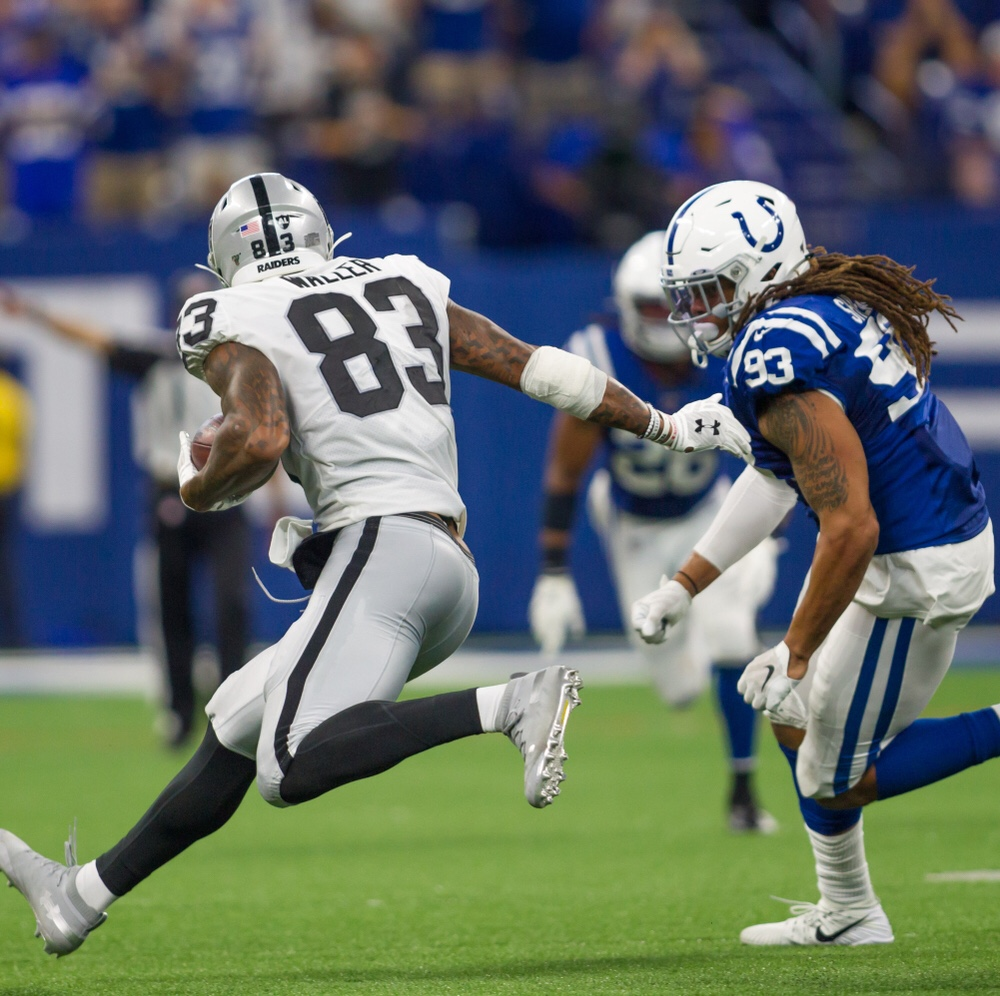 NFL Las Vegas Raiders tight end Darren Waller catching a pass against the Indianapolis Colts defender