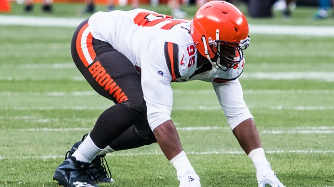 NFL Cleveland Browns defensive end Myles Garrett in his defensive stance on the football field