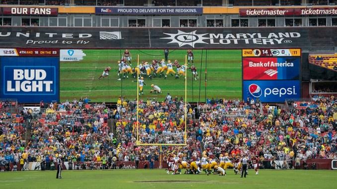 NFL Green Bay Packers kicker Mason Crosby kicking a field goal against the Washington Football Team