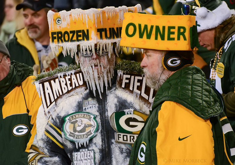 NFL Green Bay Packers fans dressed in crazy outfits at a Green Bay Packers game