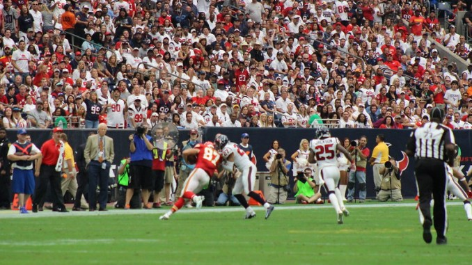 NFL Kansas City Chiefs tight end Travis Kelce playing against the Houston Texans