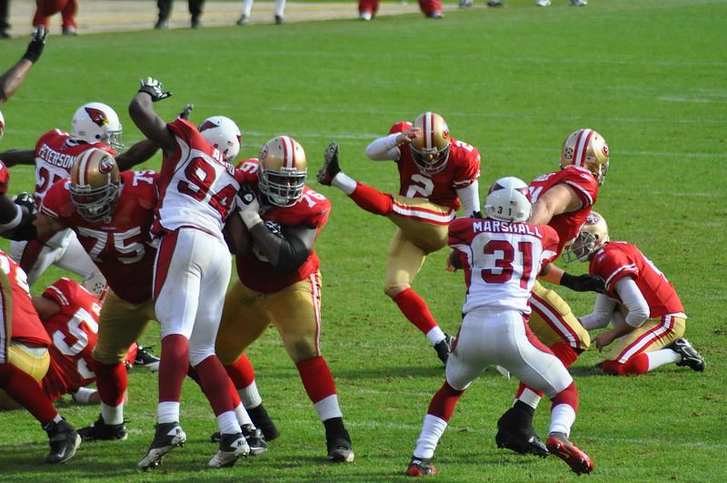 NFL San Francisco 49ers kicker kicking a field goal