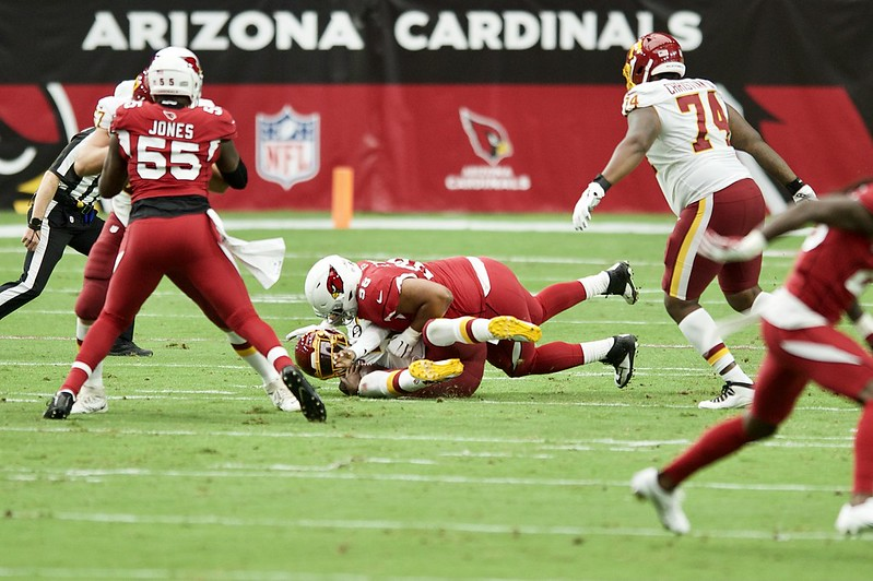 NFL Arizona Cardinals defense sacking the Washington Football Team quarterback