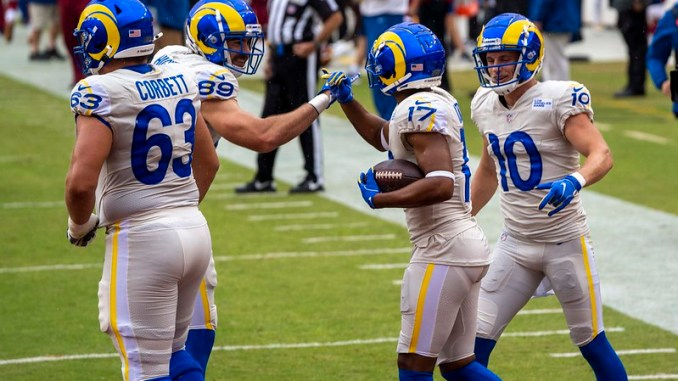 NFL Los Angeles Rams wide receivers Robert Woods and Cooper Kupp celebrating a touchdown