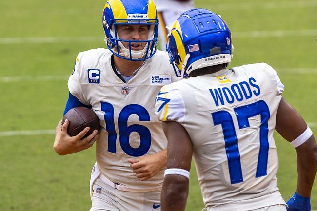 NFL Los Angeles Rams quarterback Jared Goff celebrating a touchdown against the Washington Footballwith fellow teammate Robert Woods