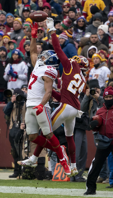NFL New York Giants wide receiver Sterling Shephard going up to catch a pass against Washington Football Team cornerback Josh Norman