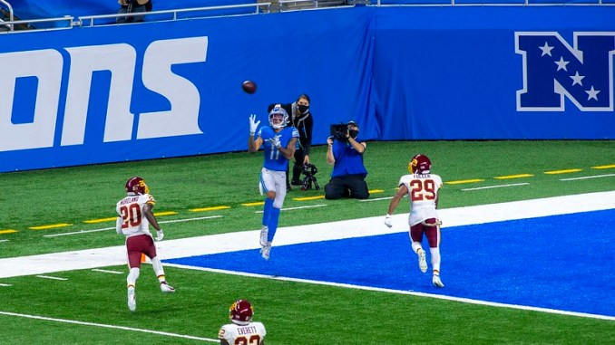 NFL Detroit Lions wide receiver Marvin Jones catching a touchdown pass against the Washington Football Team.