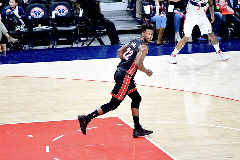 NBA Miami Heat small forward Jimmy Butler smirking after he makes a shot against the Washington Wizards