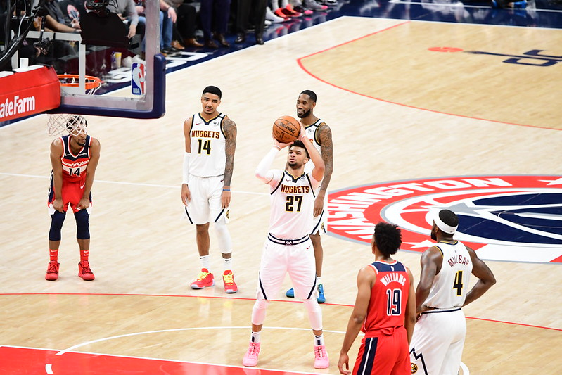 NBA Denver Nuggets point guard Jamal Murray shooting a free throw against the Washington Wizards.