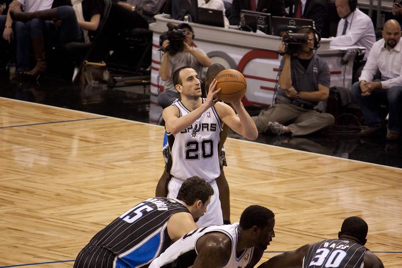 NBA legendary San Antonio Spurs shooting guard Manu Ginobili shooting a free throw against the Orlando Magic.